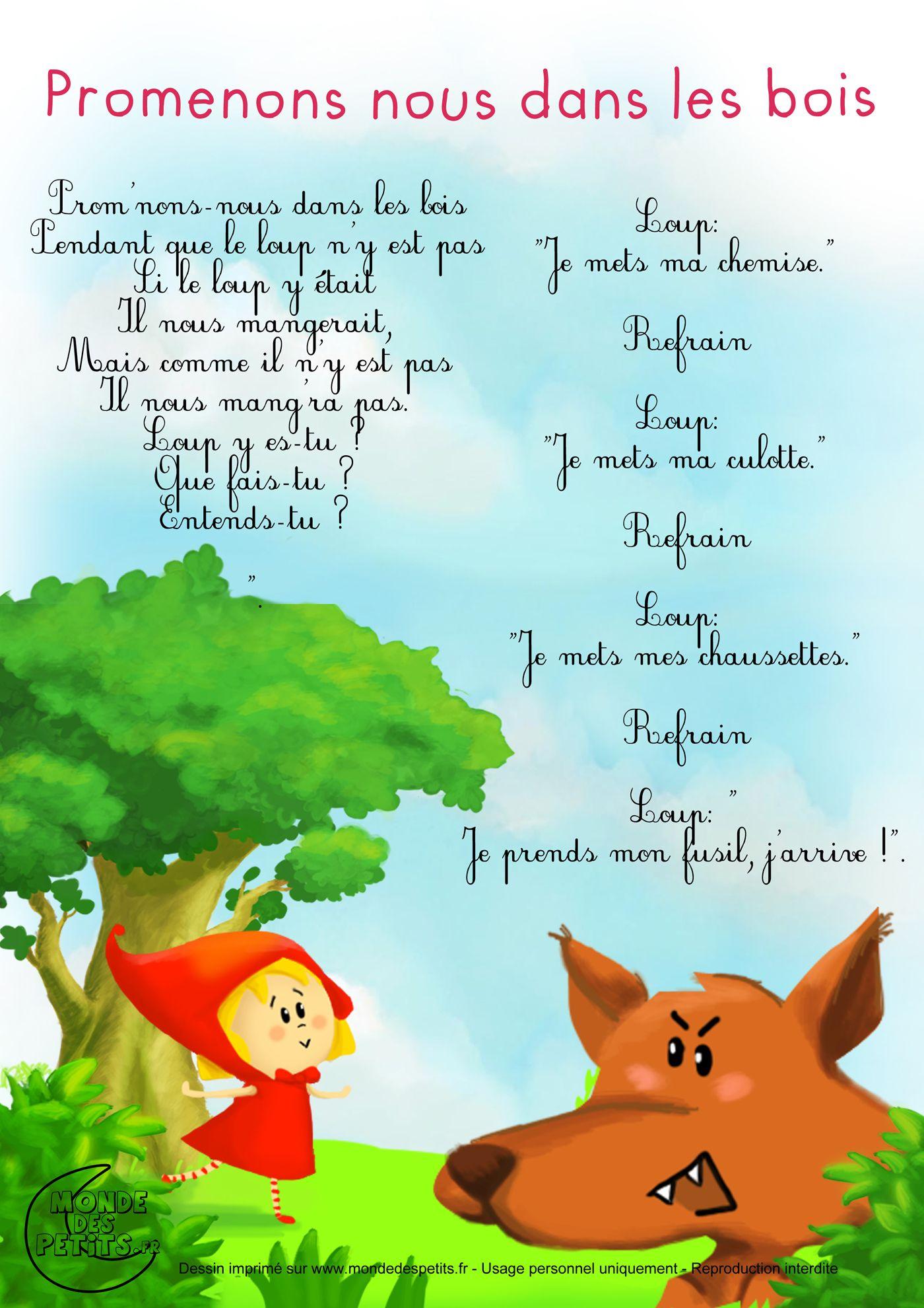 Promenons Nous Dans Les Bois (Avec Images) | Comptines destiné Les Petites Marionnettes Chanson