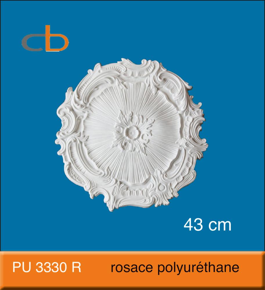 Pu 3330 R - Rosace En Polyuréthane D=43,0 Cm avec Image De Rosace