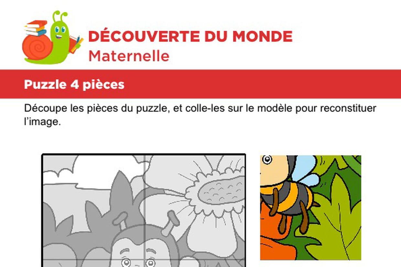 Puzzle 4 Pièces, Une Petite Abeille à Découpage Collage Maternelle À Imprimer