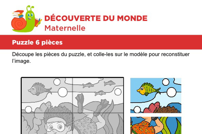 Puzzle 6 Pièces, Le Plongeur à Découpage Collage Maternelle À Imprimer