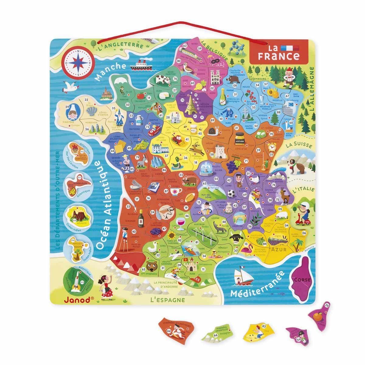 Puzzle France Magnétique Janod | Carte De France, Nouvelles destiné Carte Numero Departement