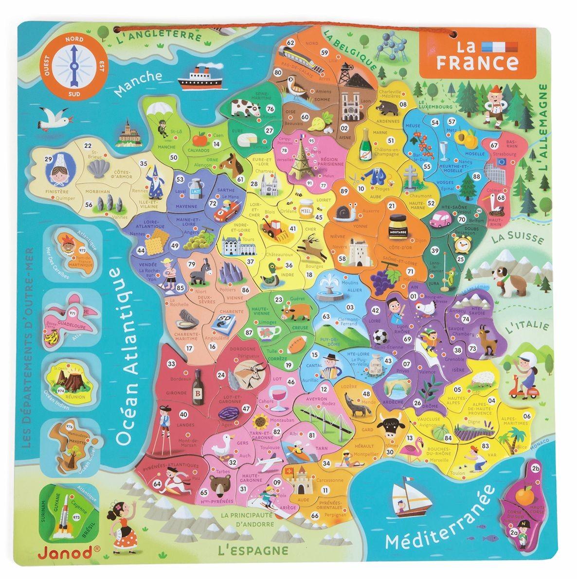 Puzzle Magnétique De La France - Jouet Éducatif Janod destiné Carte De France Pour Les Enfants