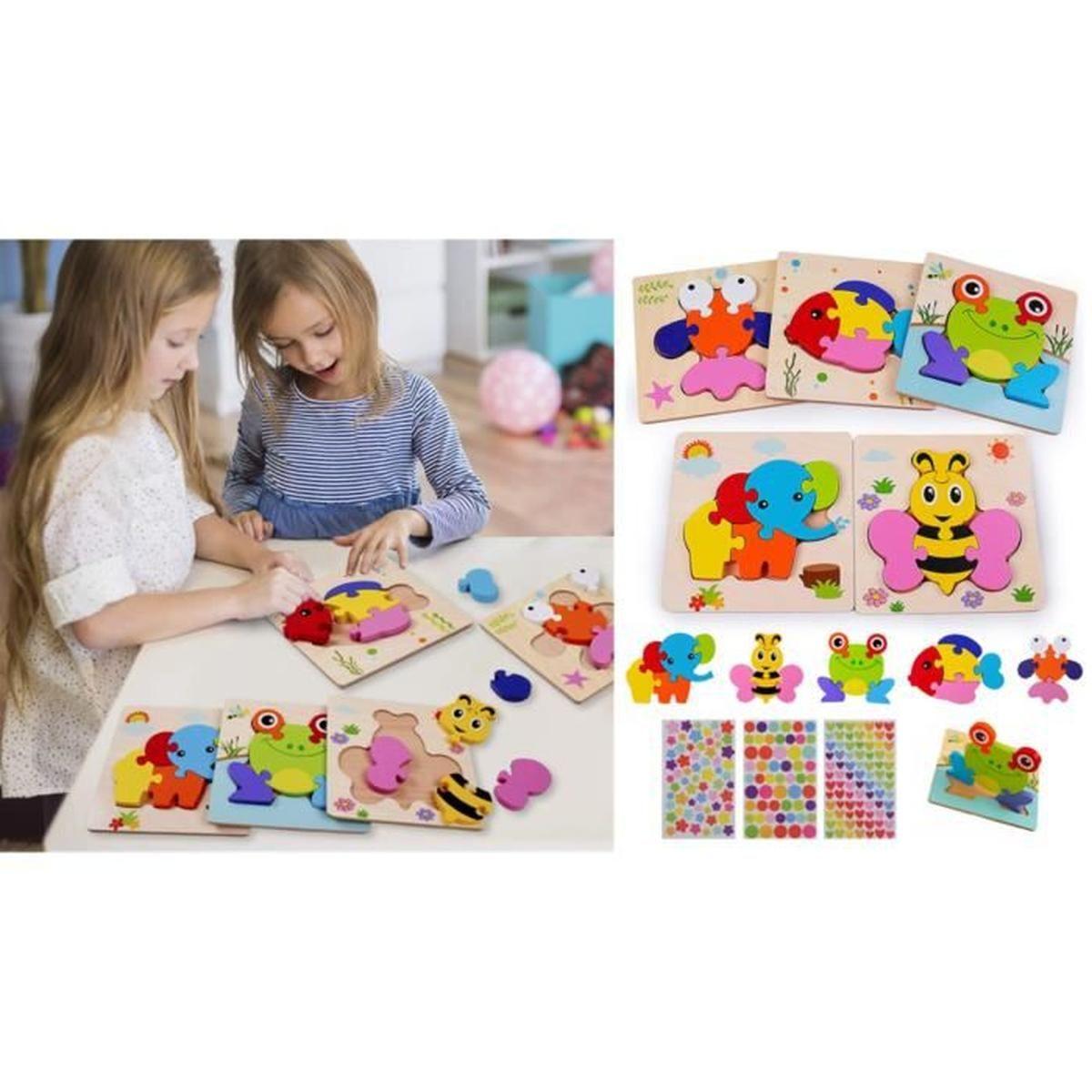 Puzzles En Bois Jouet Bébé Puzzles 3D, Jouets Montessori et Jeux Educatif 4 Ans