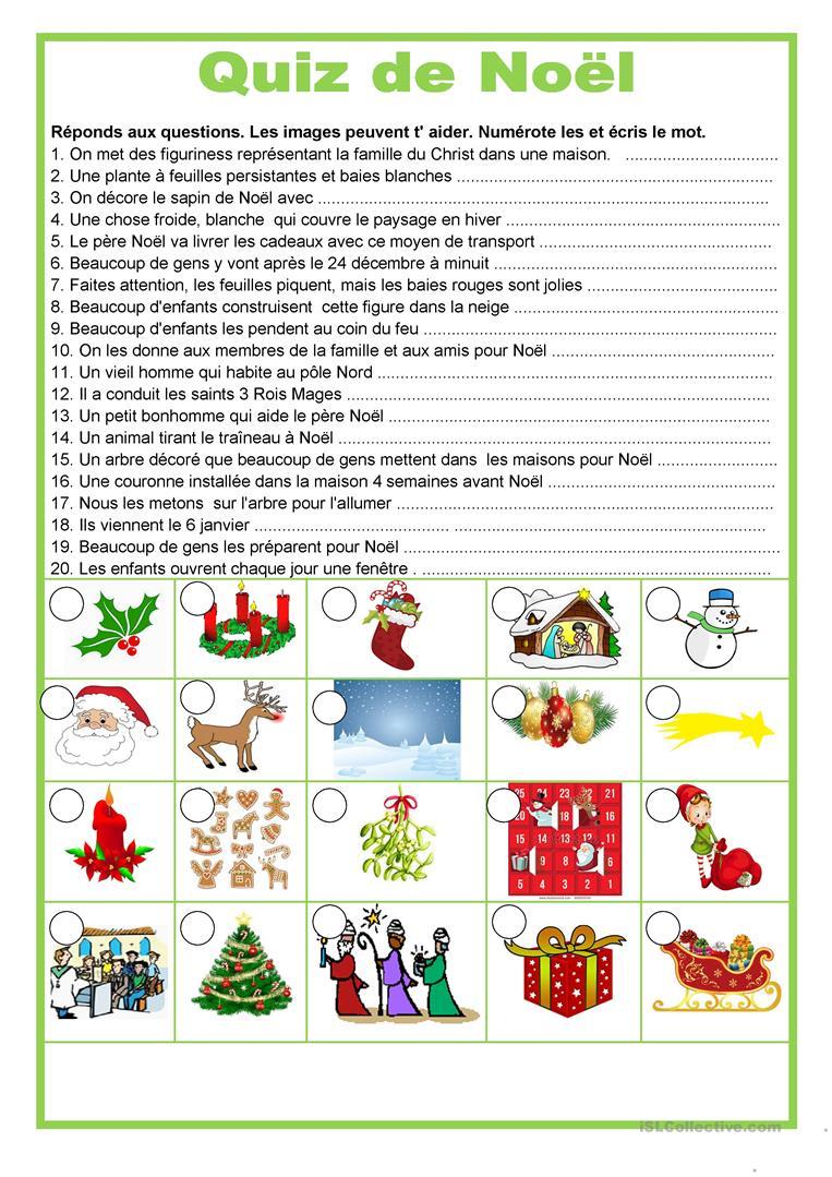 Quiz De Noël - Français Fle Fiches Pedagogiques pour Chanson De Noel Ecrite