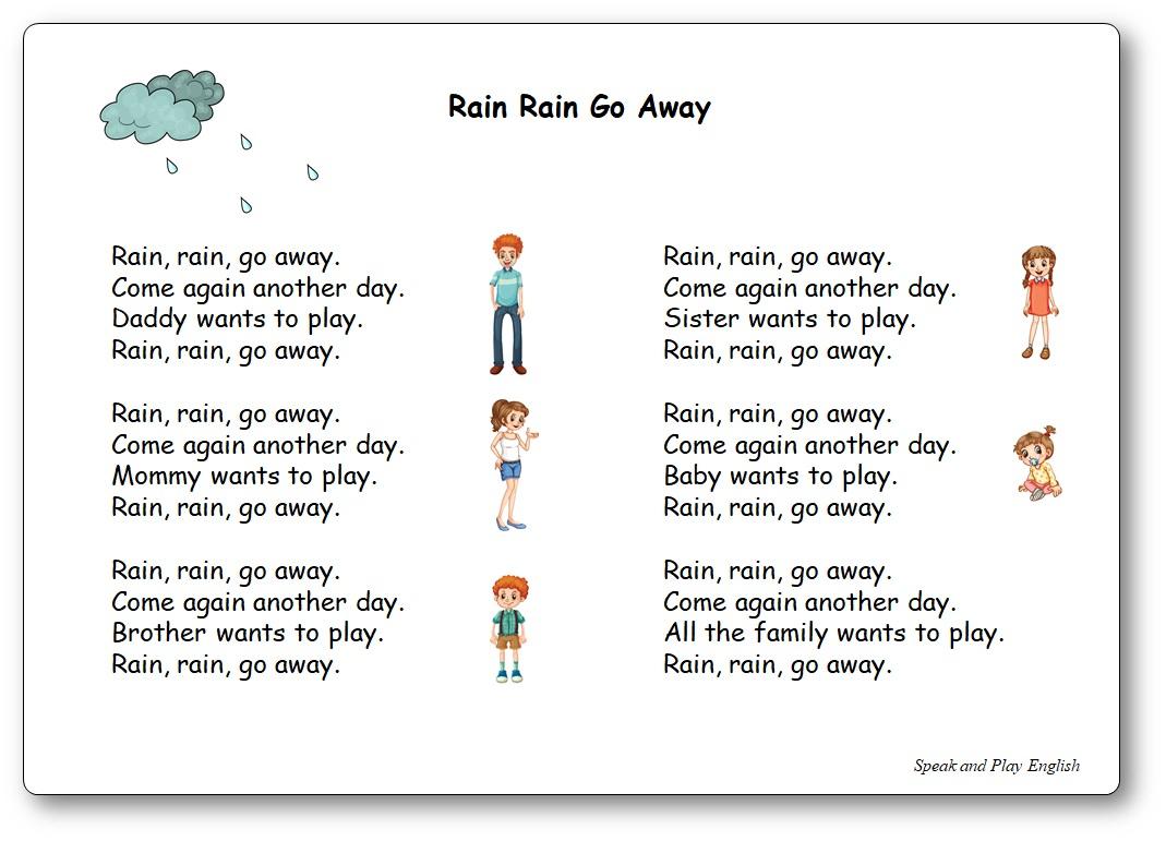 Rain, Rain, Go Away - Paroles Illustrées De La Comptine En dedans Chanson A Imprimer
