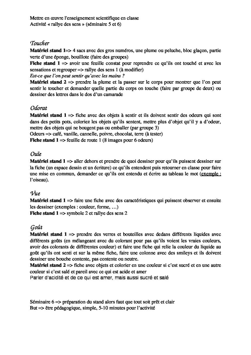 Rallye Des Sens | Bdrp pour Fiche Pédagogique Les 5 Sens