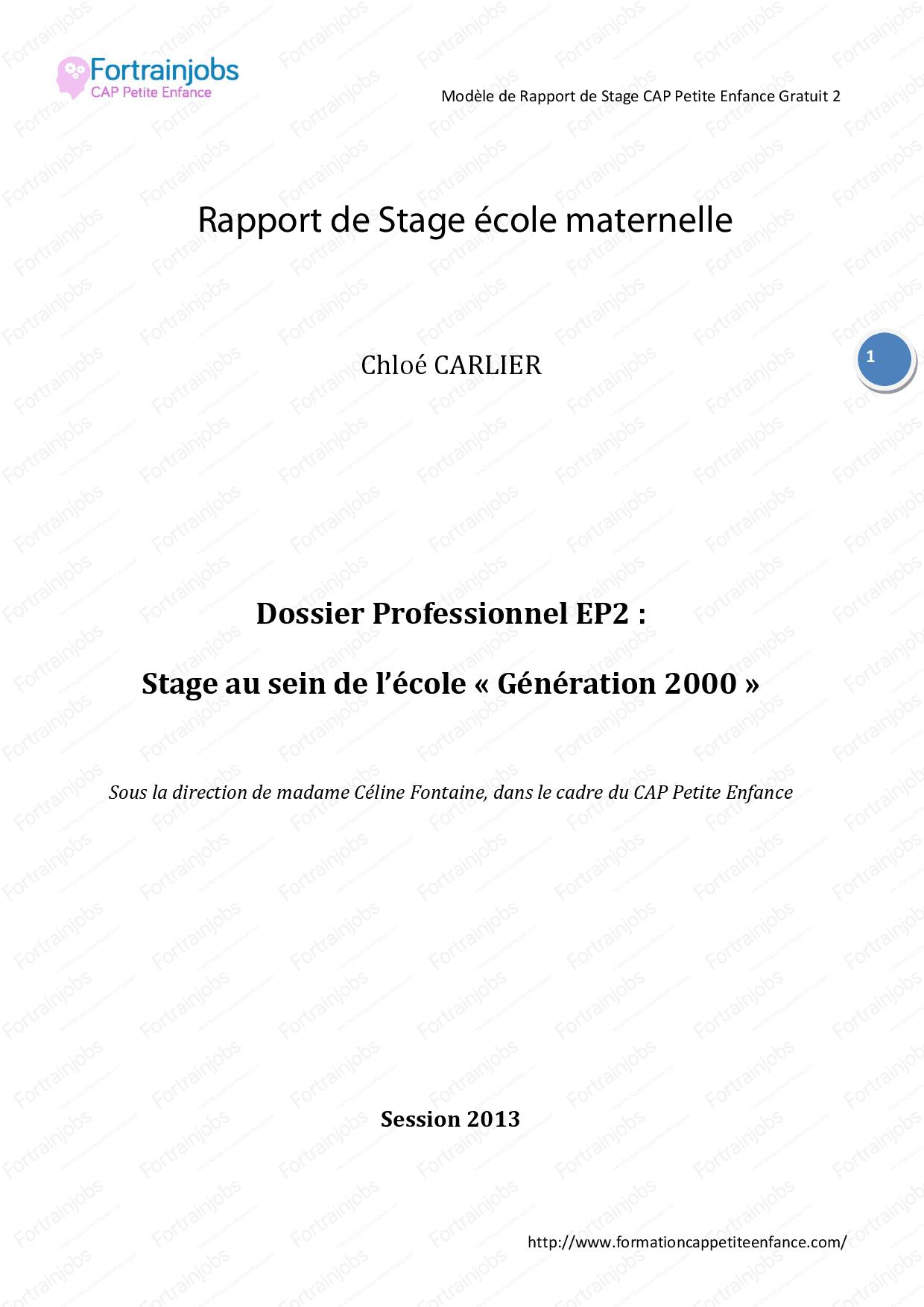 Rapport De Stage École Maternelle - Docsity destiné Grande Section Maternelle Age