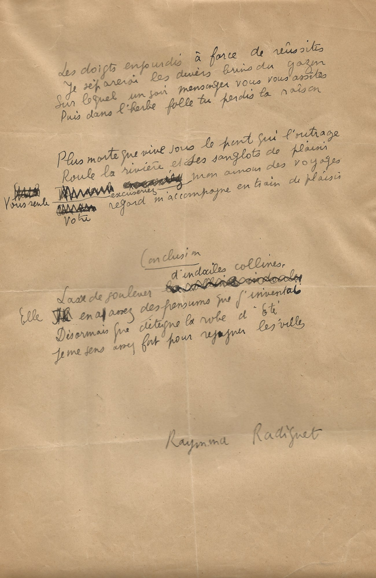 Raymond Radiguet – Poème Autographe Signé – Les Joues En Feu. avec Poésie Vive Les Vacances