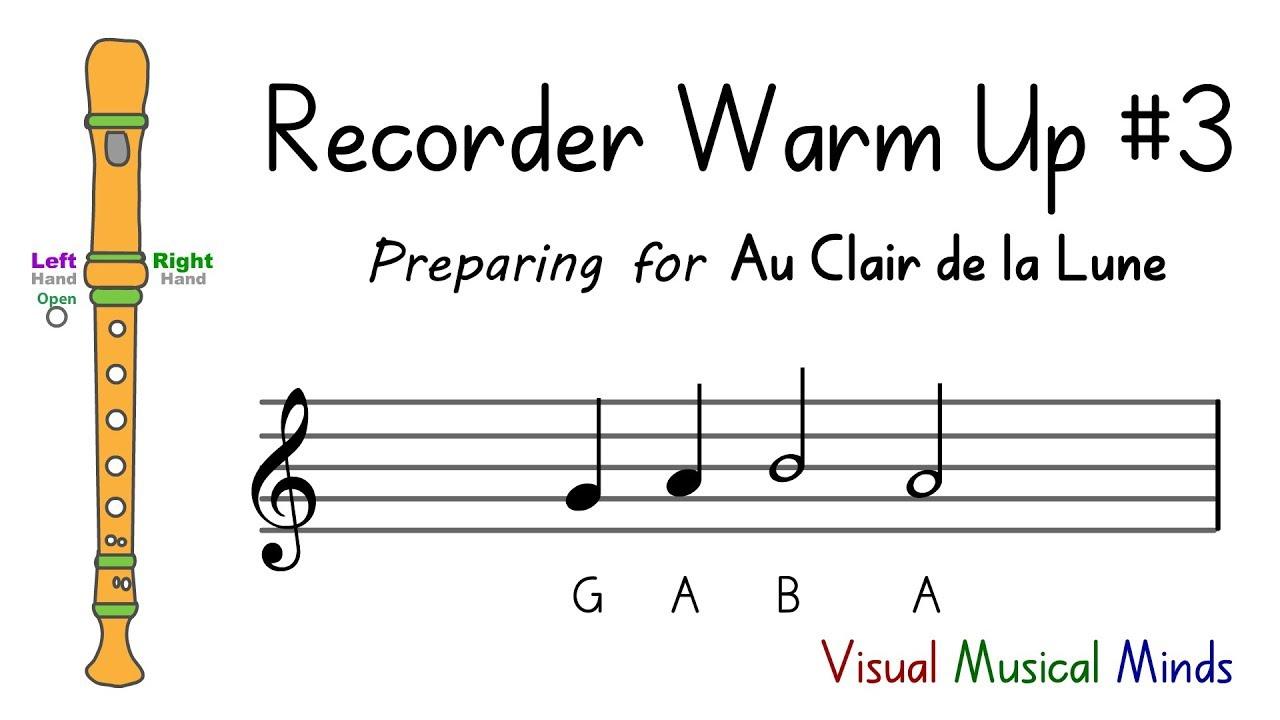 """Recorder Warm-Up #3: Preparing For """"au Clair De La Lune"""" concernant Clair De La Lune Lyrics"""