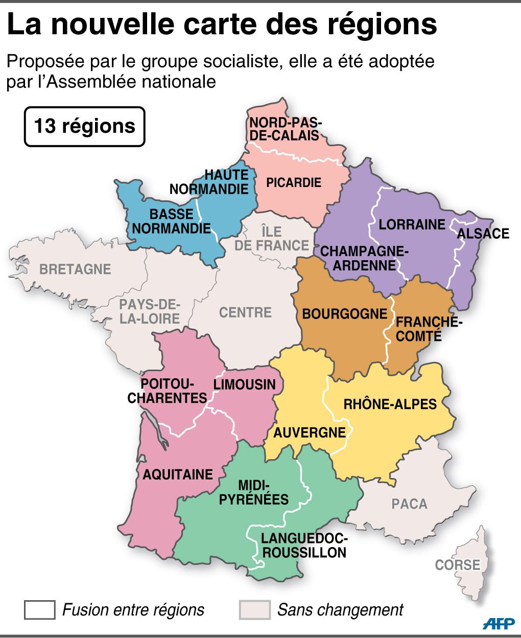 Réforme Territoriale : L'assemblée Adopte La Nouvelle Carte destiné Nouvelle Carte Des Régions De France