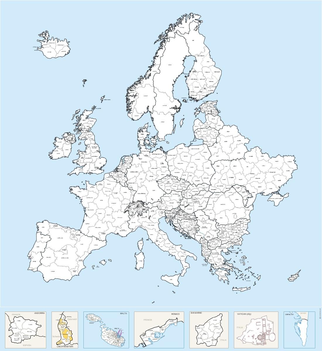 Régions Nommées D'europe - Carte Vectorielle concernant Carte Europe Avec Capitales