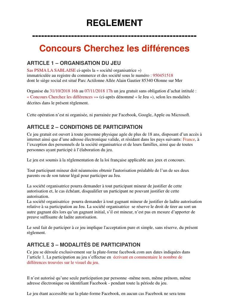 Règlement Timeline.docx Par Leslie Bouhier - Cherchez Les concernant Jeux Des Differences Gratuit