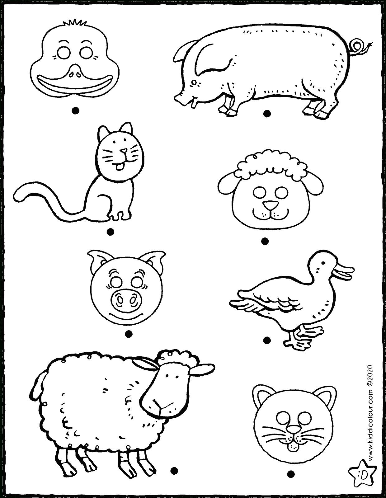 Relie Chaque Masque Avec Le Bon Animal - Kiddicoloriage destiné Masque Canard À Imprimer