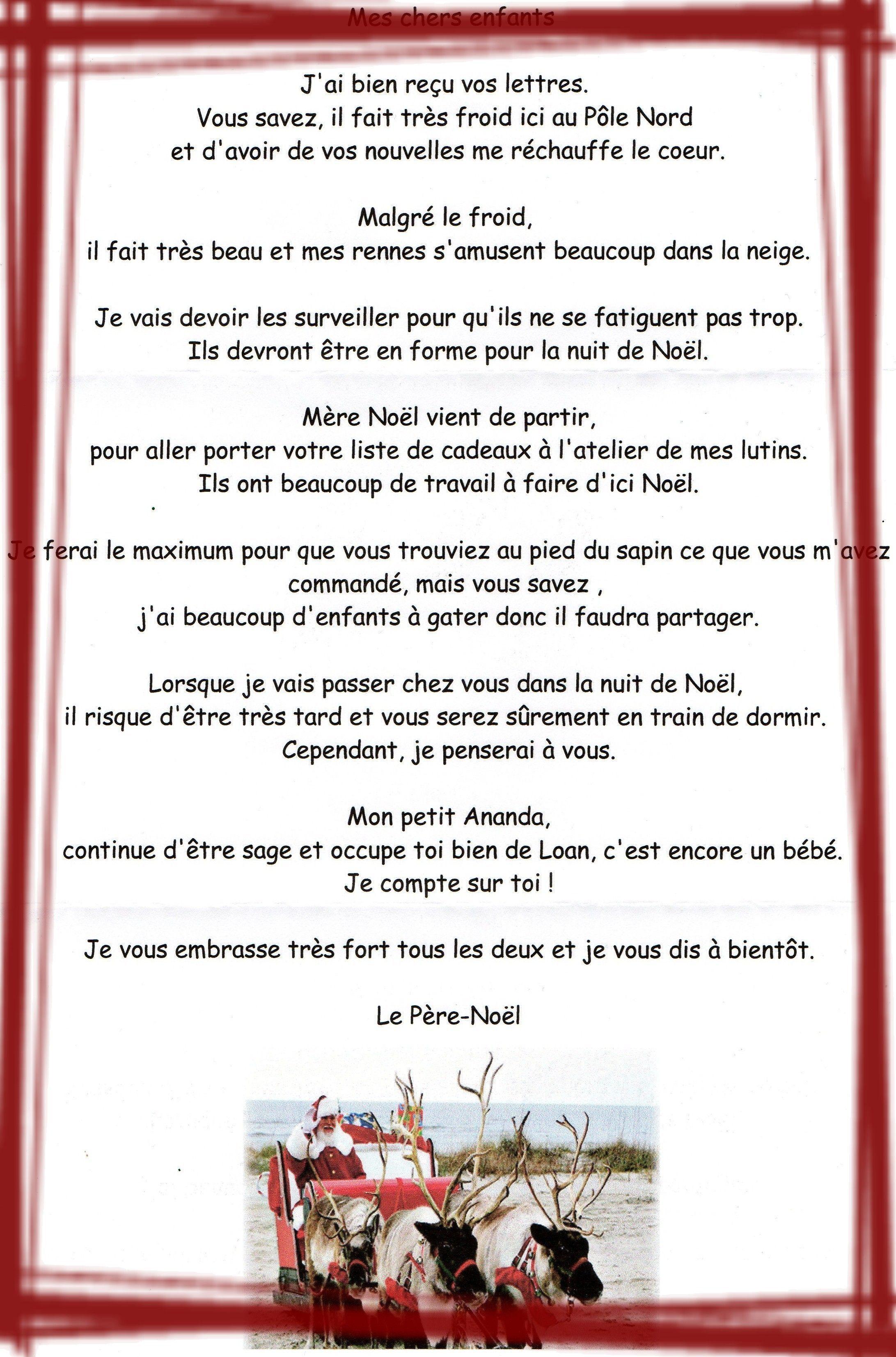 Réponse Du Père Noël. dedans Reponse Lettre Du Pere Noel A Imprimer