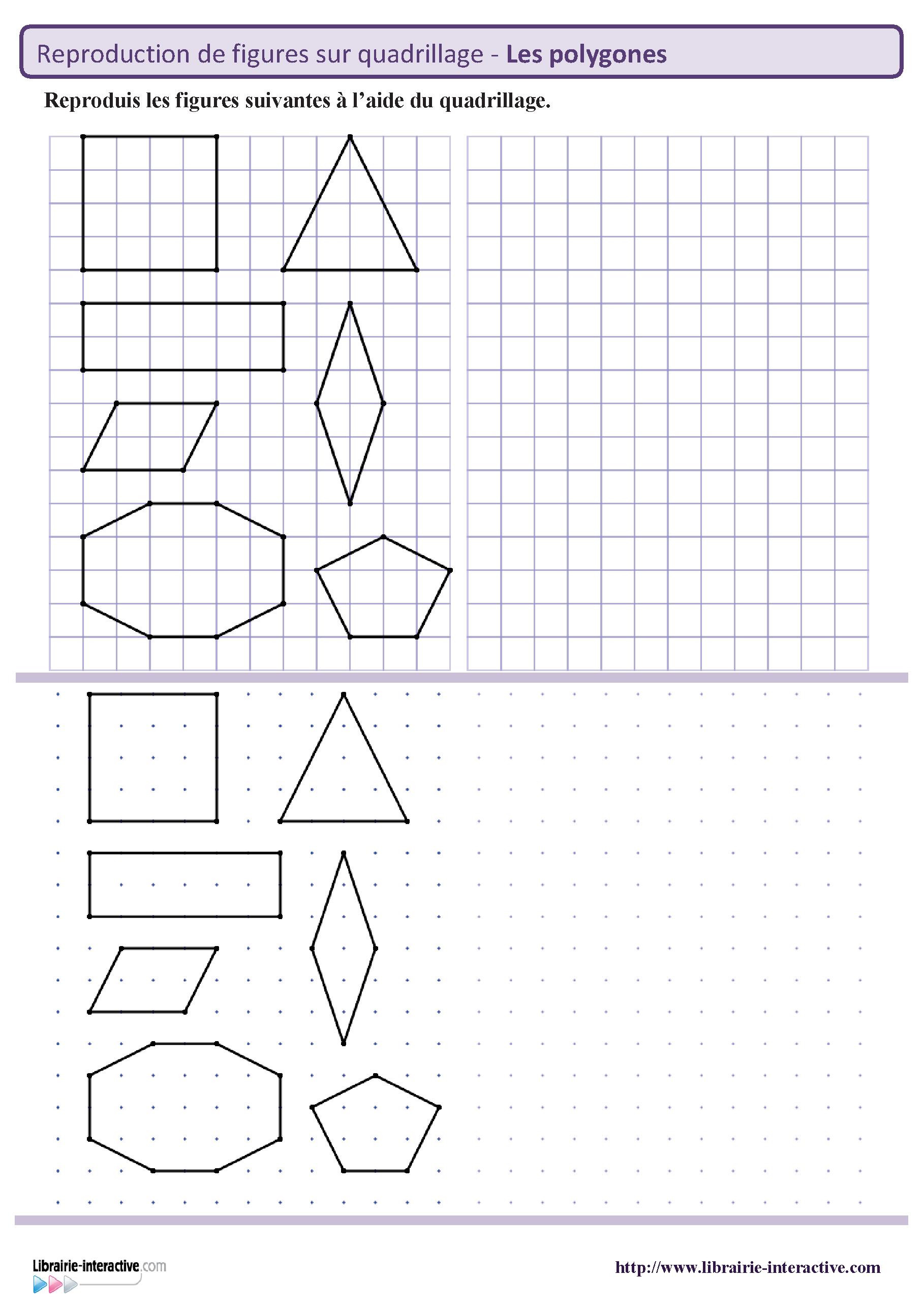 Reproduction Des Principaux Polygones Sur Quadrillage Et encequiconcerne Figures Géométriques Ce1