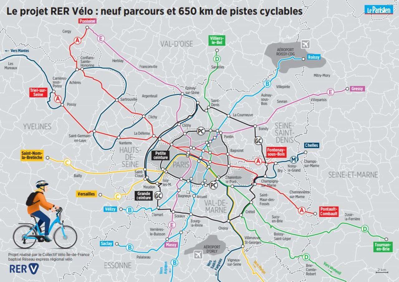 Rer Vélo» En Ile-De-France : La Carte Du Projet À Imprimer serapportantà Carte De France Avec Département À Imprimer