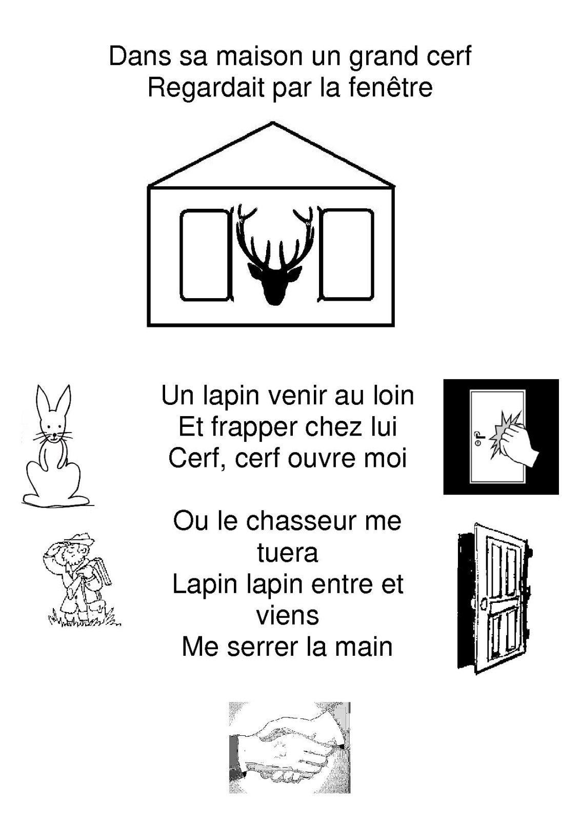 """Résultat De Recherche D'images Pour """"poésie Poule Maternelle"""" tout Chanson Du Cerf Et Du Lapin"""