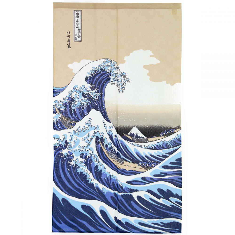 Rideau Noren Bleu Japonais, Shiranami, Vague tout Dessin De Vague A Imprimer