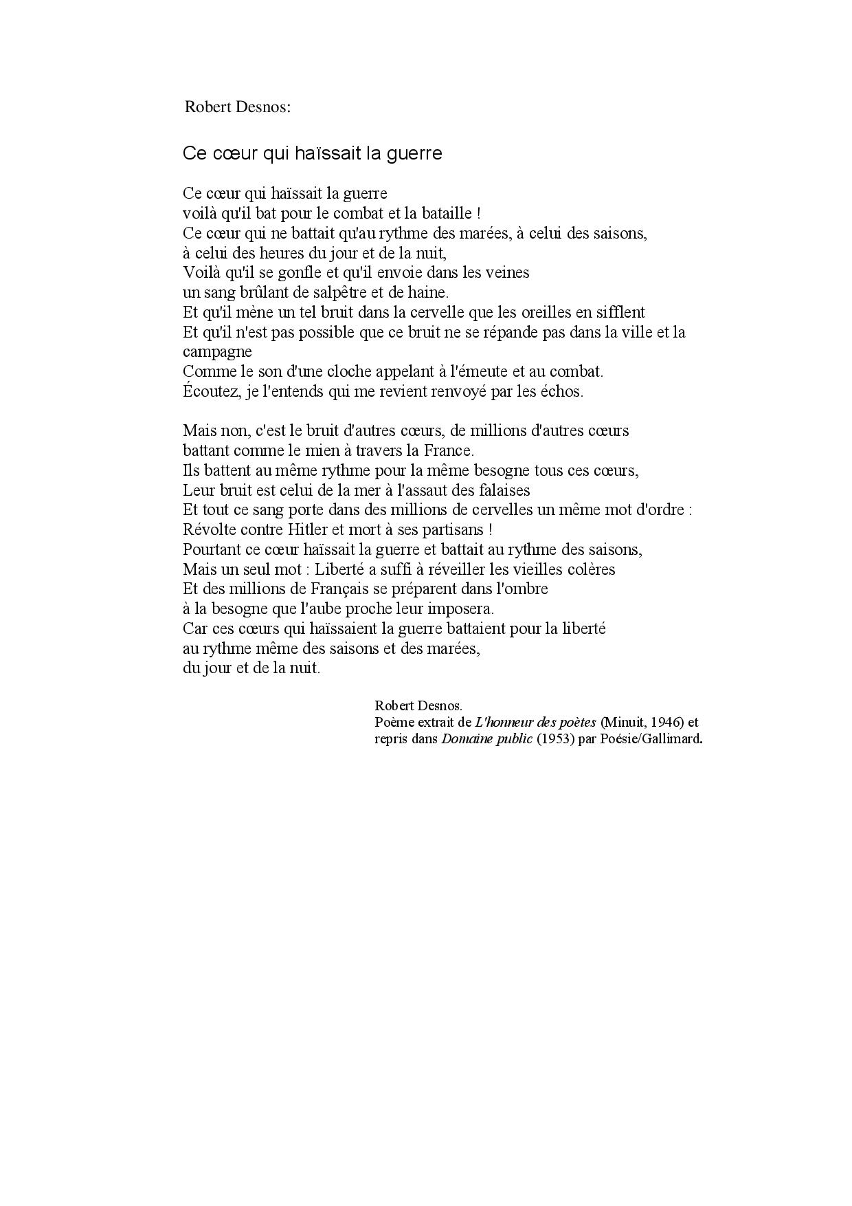 Robert Desnos: Ce Coeur Qui Haïssait La Guerre - Docsity avec Poème De Robert Desnos