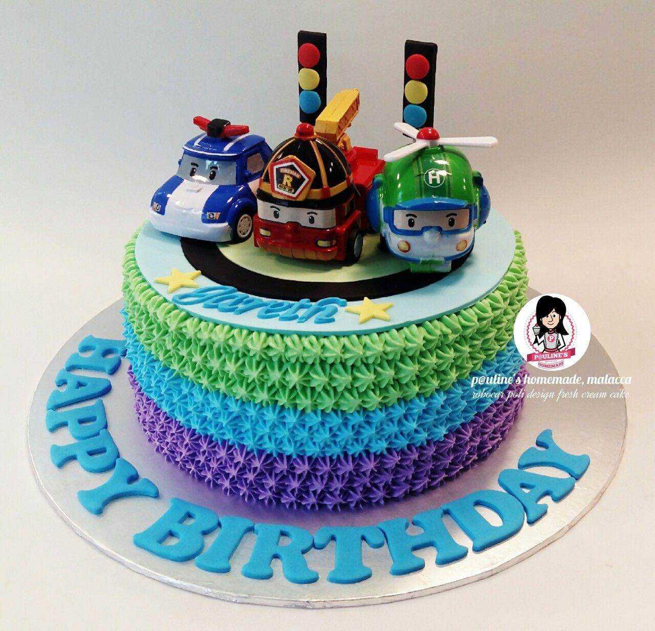Robocar Poli Design Fresh Cream Cake | Gâteaux 3D, Gateau encequiconcerne Chanson Robocar Poli