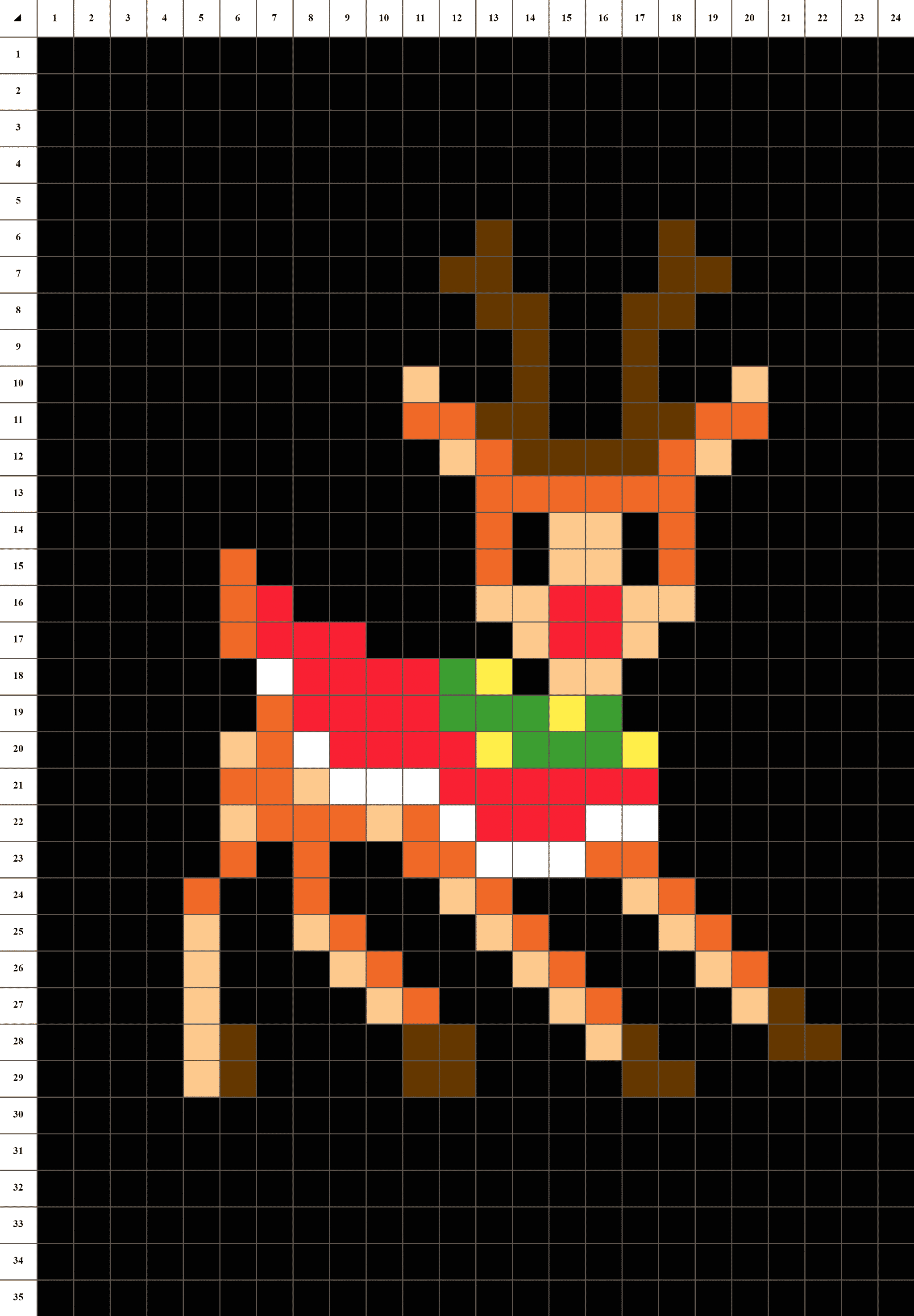 Rodolphe Renne De Noël - Pixel Art | La Manufacture Du Pixel avec Pixel Art Pere Noel