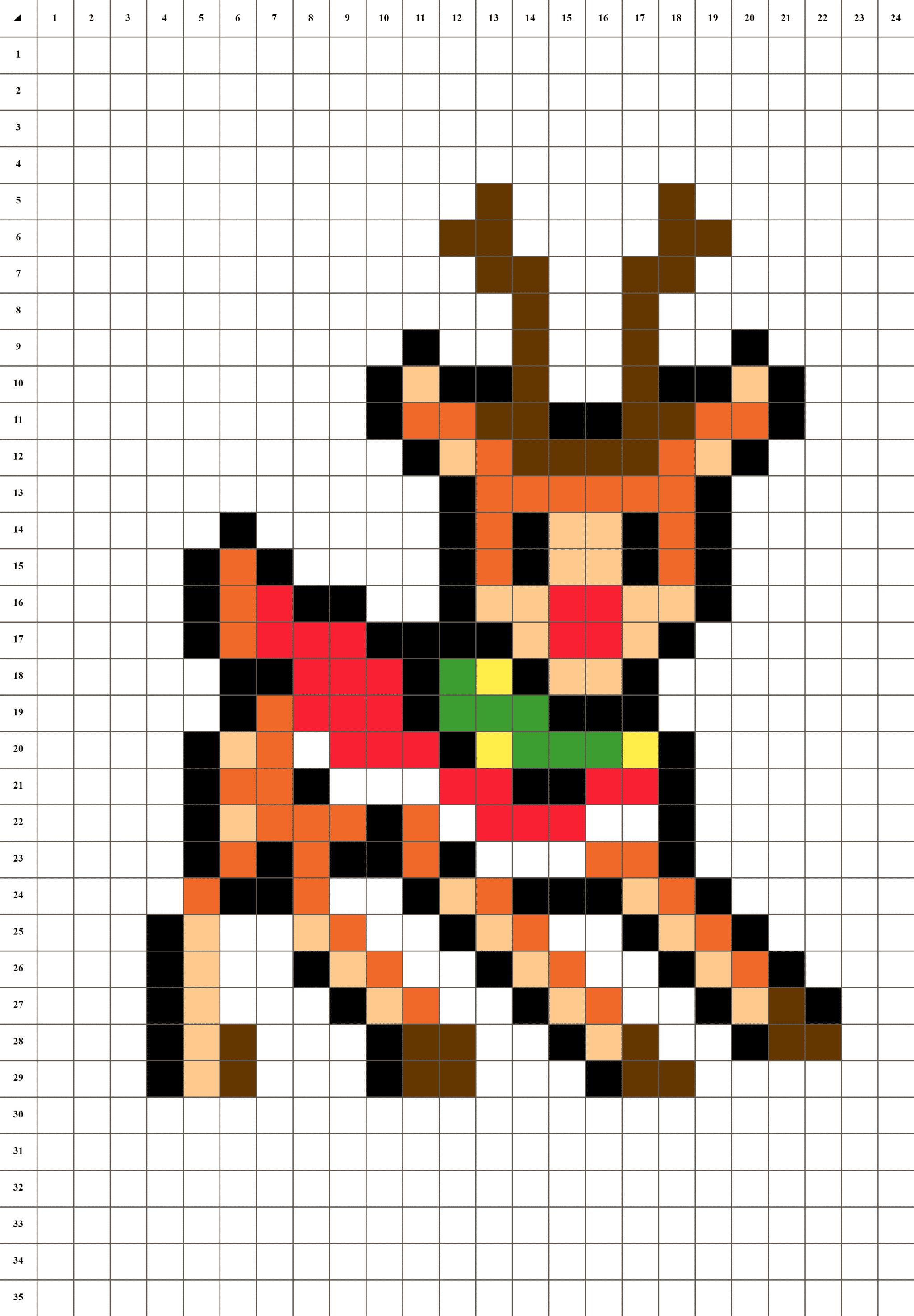 Rodolphe Renne De Noël - Pixel Art | La Manufacture Du Pixel dedans Pixel Art Pere Noel