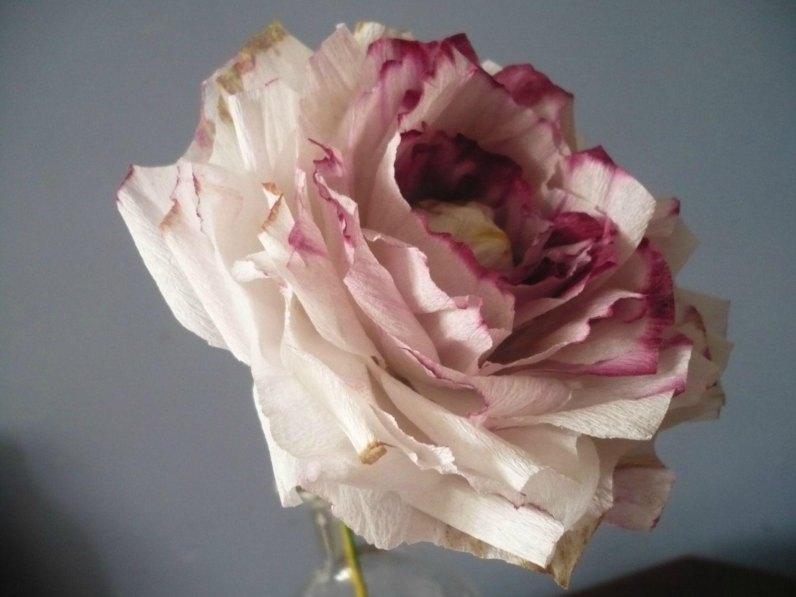 Rose En Papier Crépon Délavé … | Rose En Papier Crepon, Rose dedans Realisation Papier Crepon