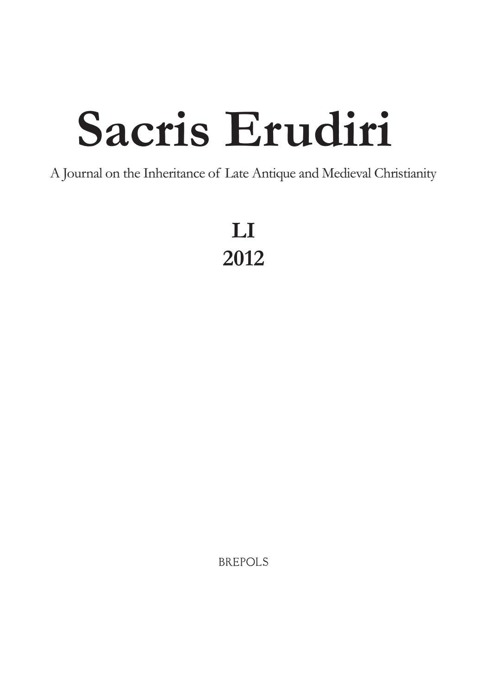 Sacris Erudiri Volume 51 2012 By Mediaevii Studiosus - Issuu concernant Police Script Ecole