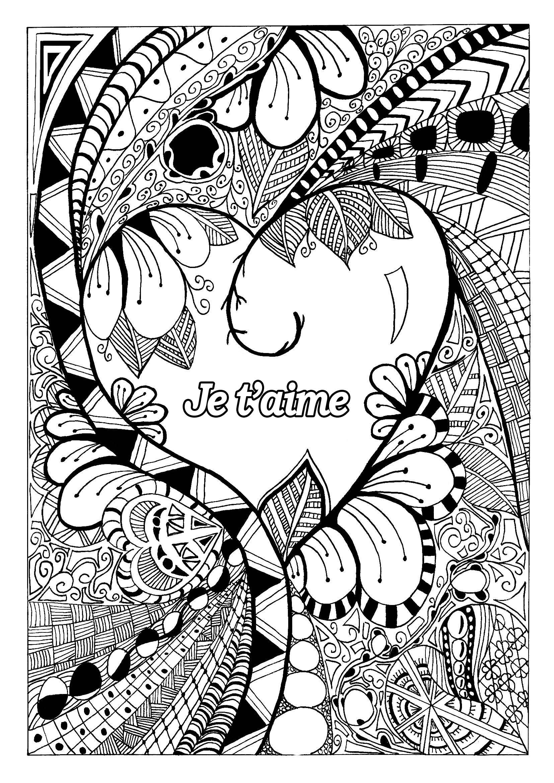 Saint Valentin 1 - Saint Valentin - Coloriages Difficiles tout Coloriage De St Valentin