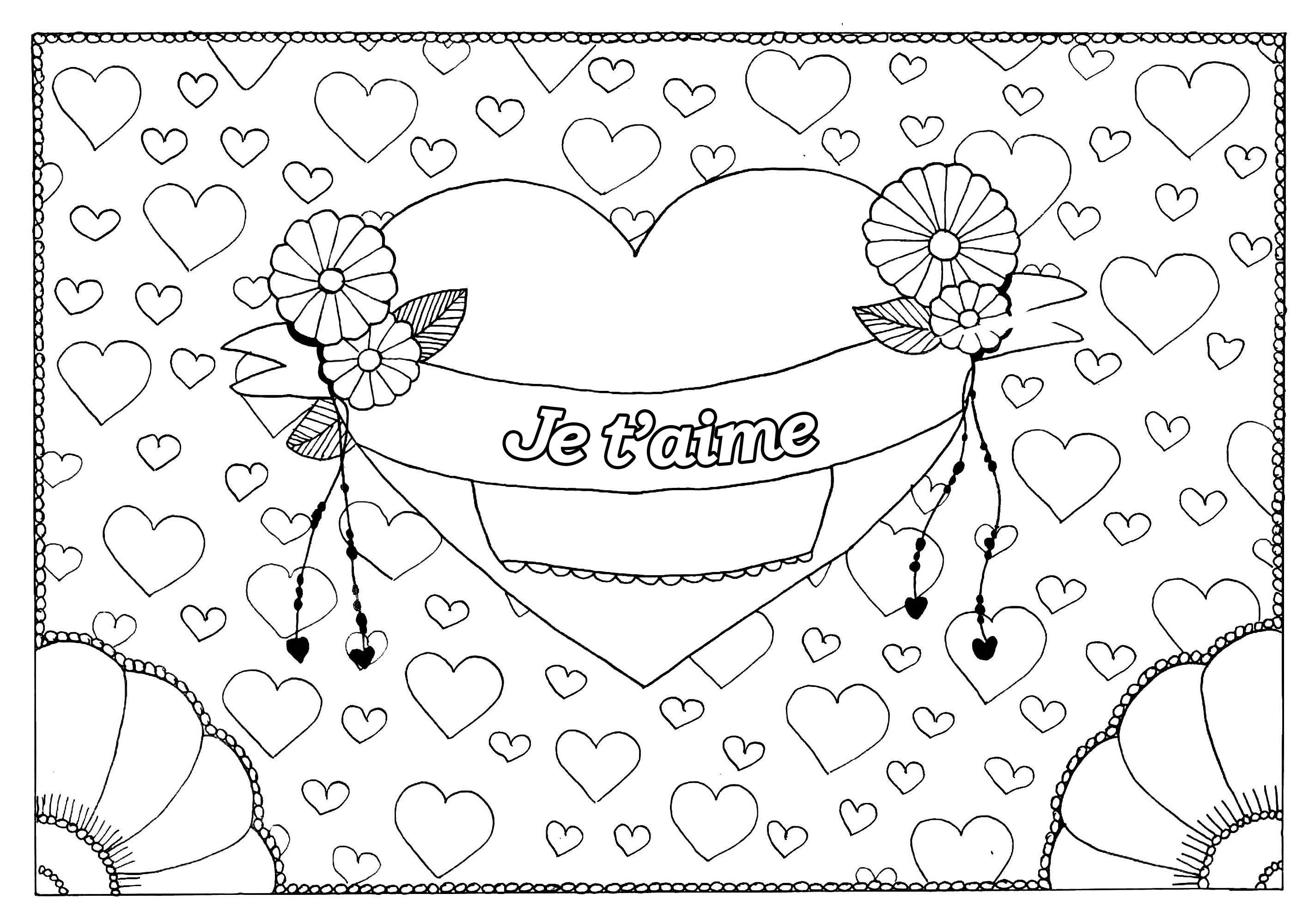Saint Valentin 5 - Saint Valentin - Coloriages Difficiles tout Coloriage De St Valentin