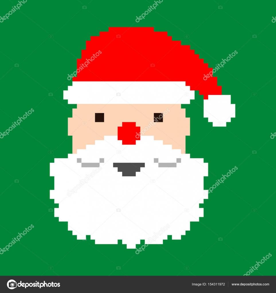 Santa's Head Vector Pixel Art — Stock Vector © Jiri_Podpinka dedans Pixel Art Pere Noel