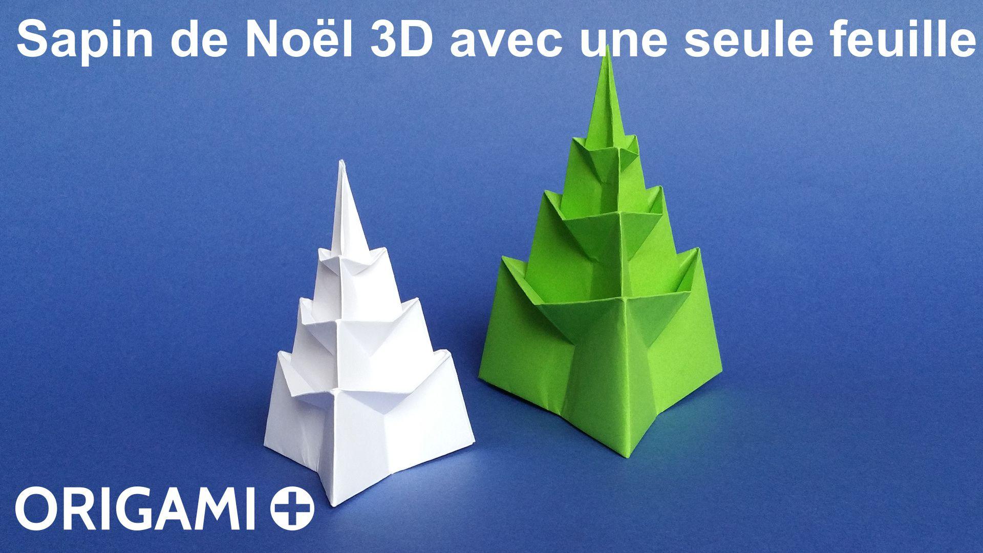 Sapin De Noël 3D Avec Une Seule Feuille En Origami à Origami Sapin De Noel