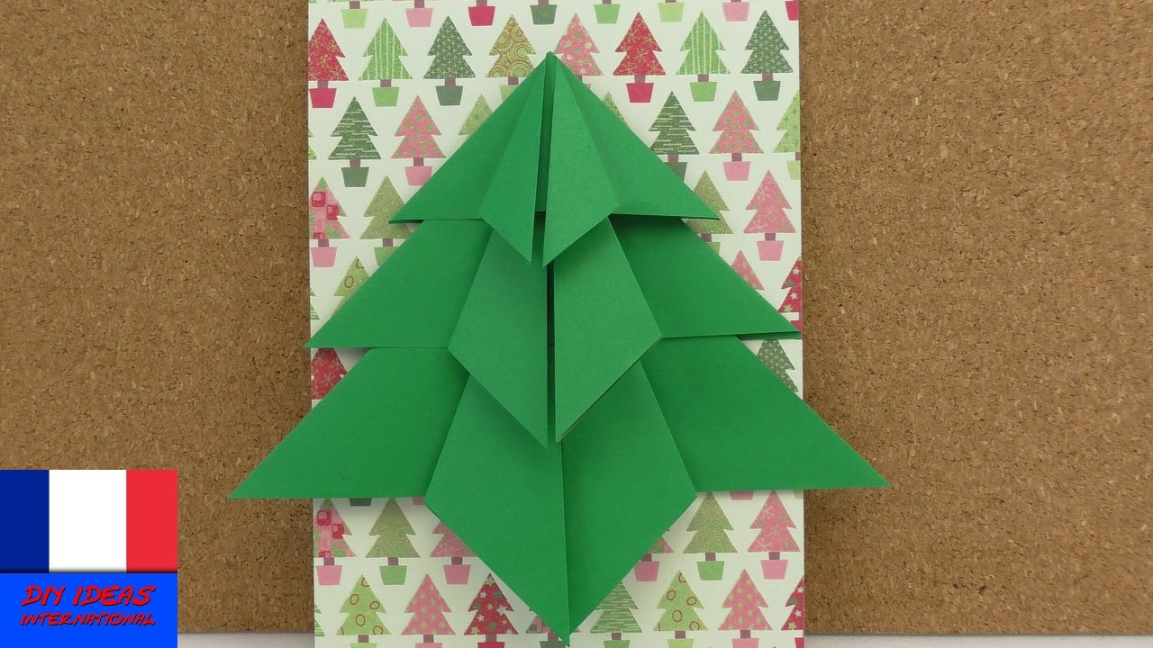 Sapin De Noël En Pliage | Sapin En Origami À Faire Soi-Même | Carte De Noël  & Décoration | Diy pour Origami Sapin De Noel