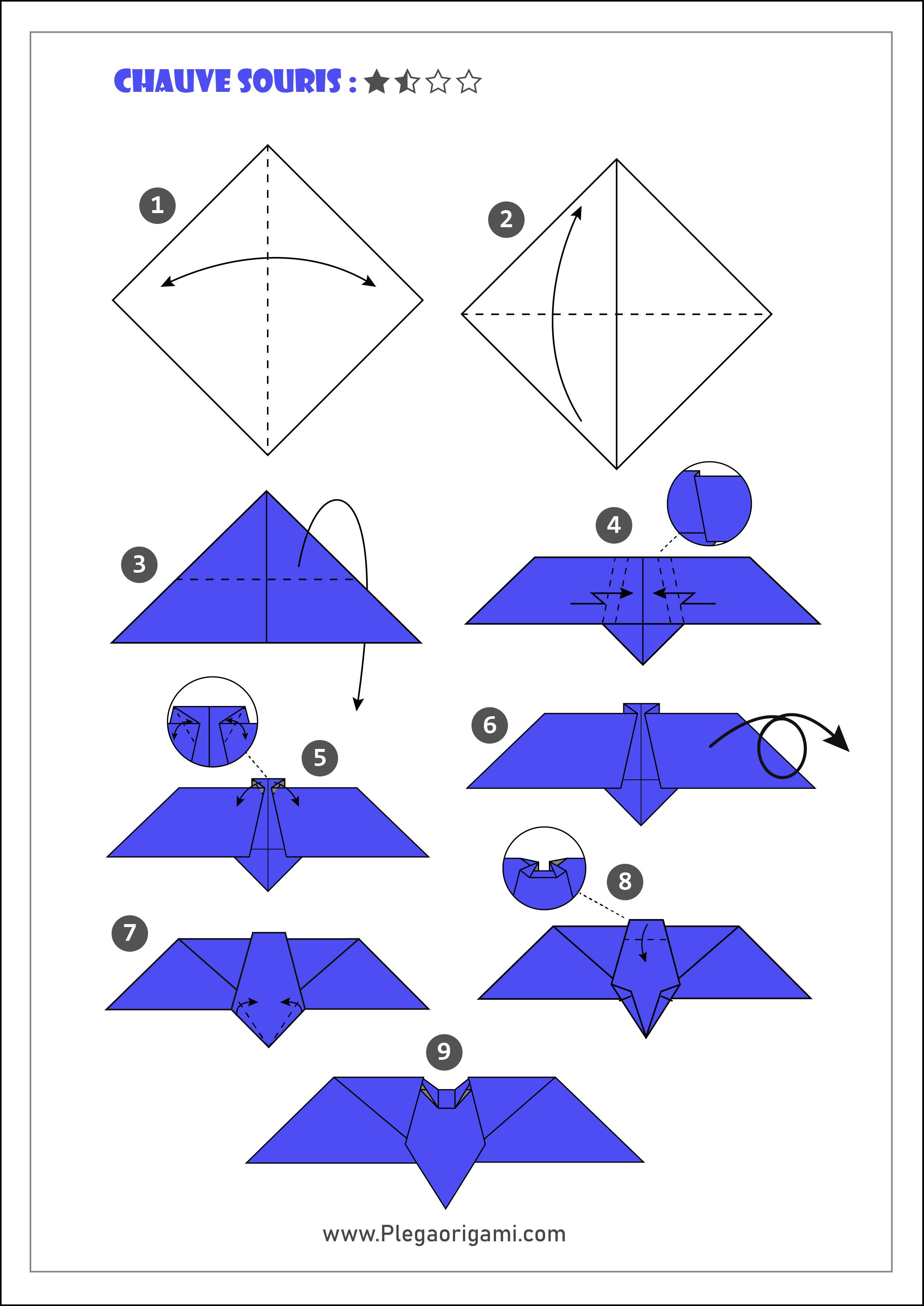 Schémas Modèles Origami Simple Et Gratuit Pour Débutant concernant Origami Chauve Souris