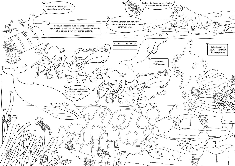 Set De Table Jeux Pour Enfant : L'océan – Dinett Illustration avec Point À Relier Alphabet