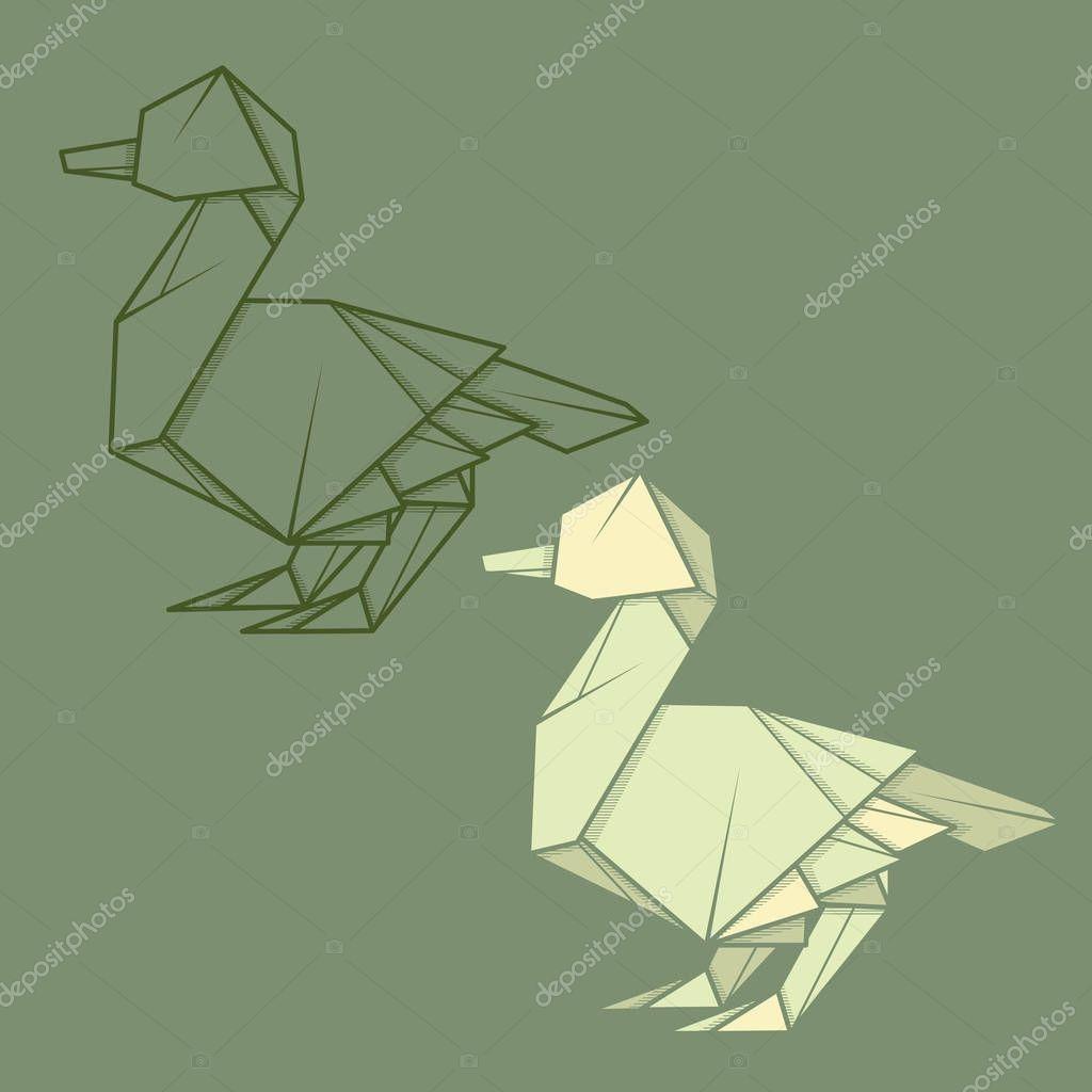 Set Illustration Paper Origami Of Duck. — Stock Vector intérieur Origami Canard