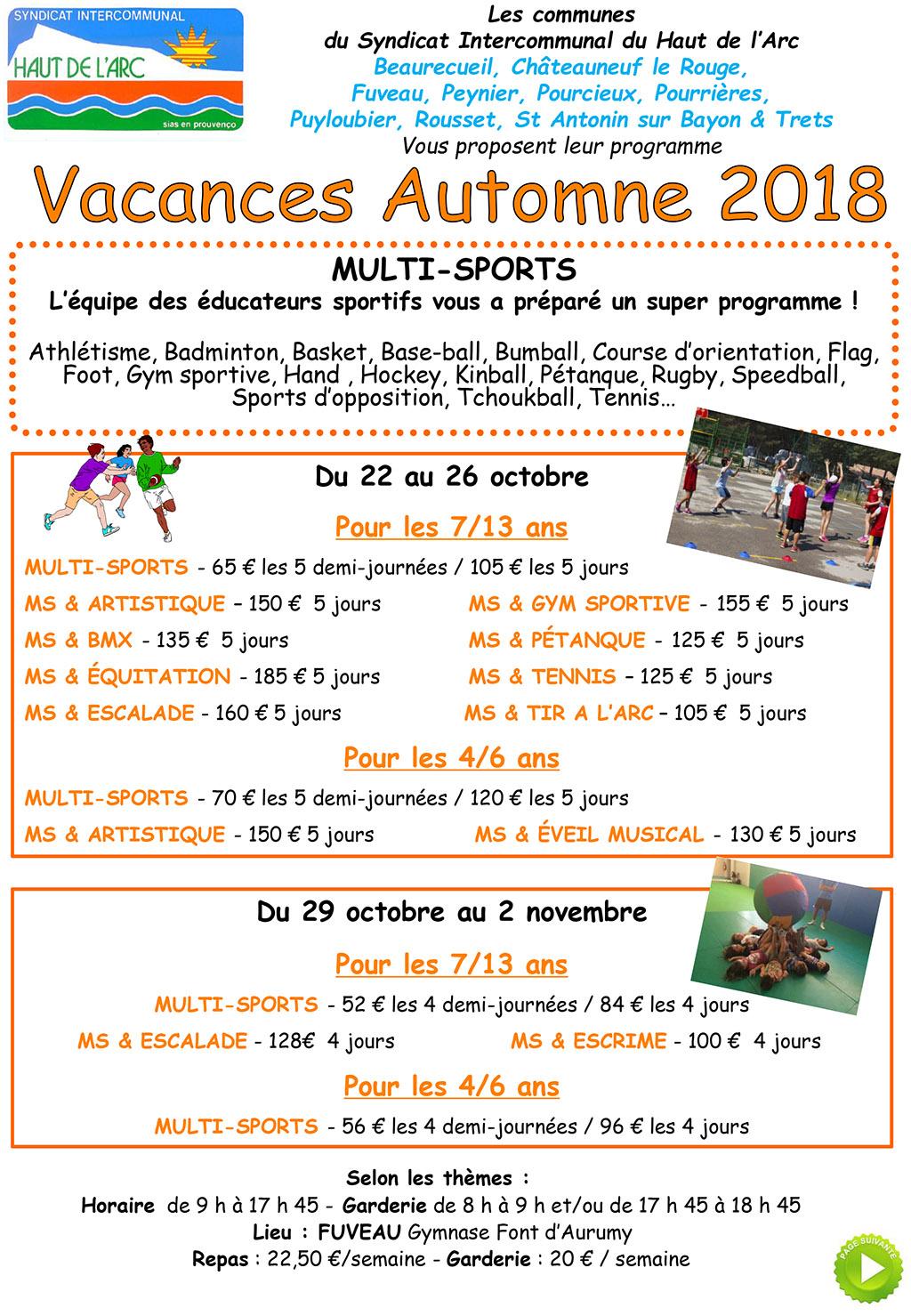 Sihva : Programme Vacances Automne 2018 – Ville De Peynier dedans Poésie Vive Les Vacances