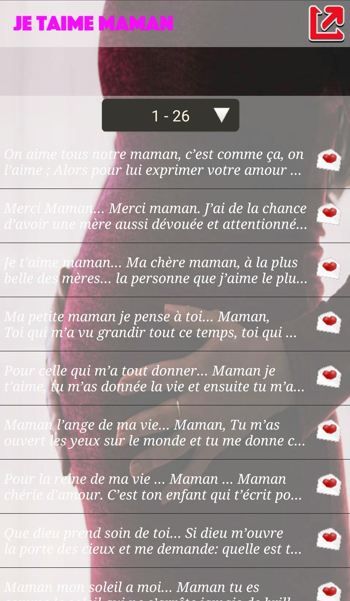 Sms Je T'aime Maman For Android - Apk Download destiné Texte Maman Je T Aime
