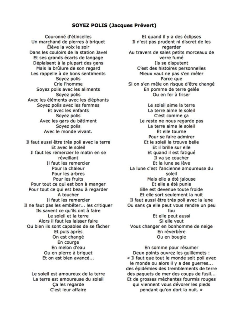 Soyez Polis » : Concours De Dessin 2017-2018 - Activités à Poeme De Jacque Prevert