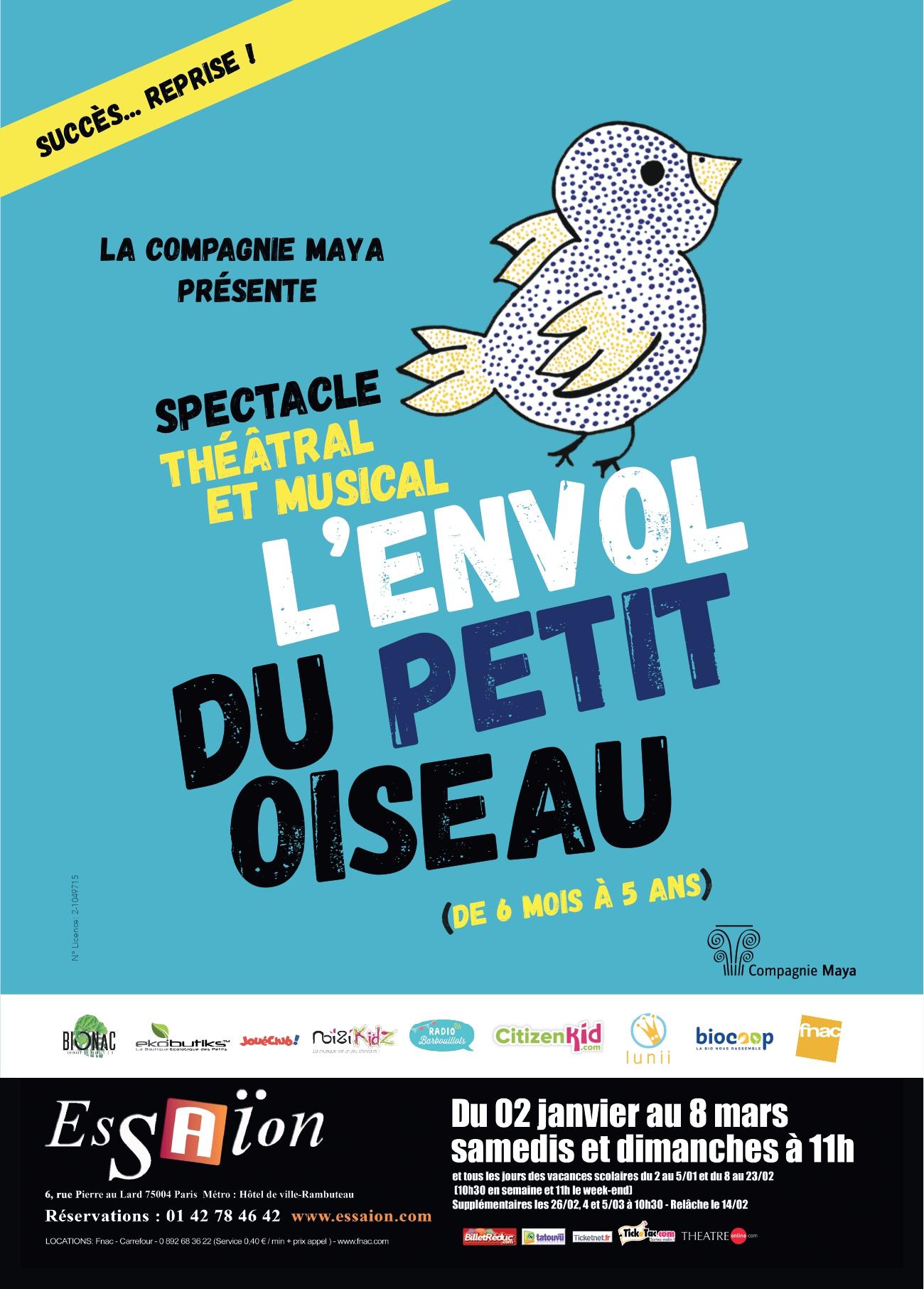 Spectacle 6 Mois – 5 Ans, Paris 4E: L'envol Du Petit Oiseau dedans Vol Petit Oiseau