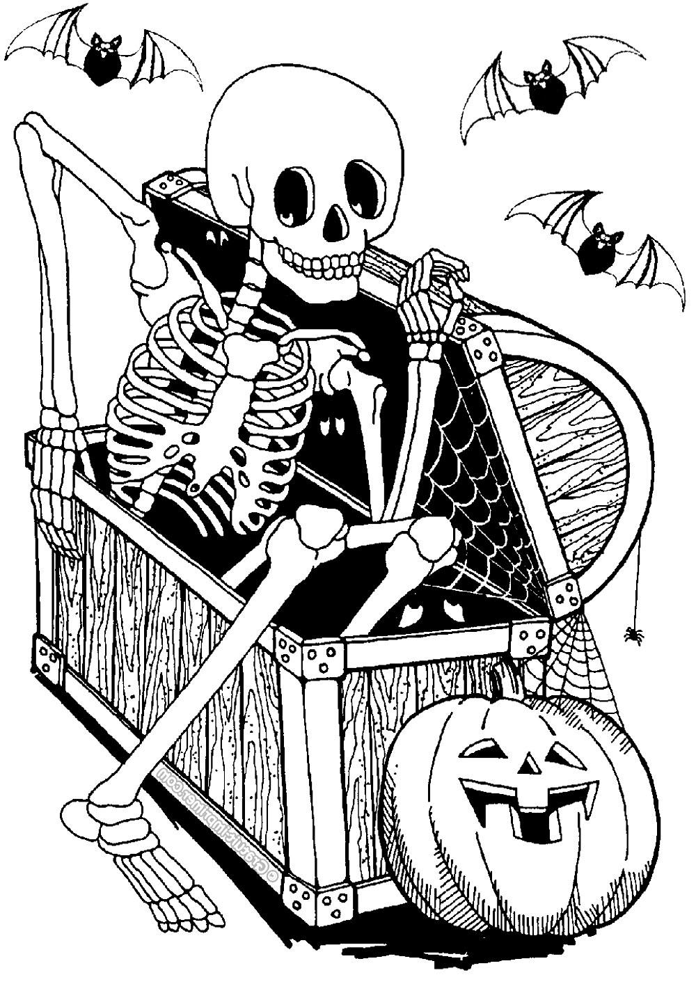 Squelette Dans Coffre - Halloween - Coloriages Difficiles avec Squelette A Imprimer