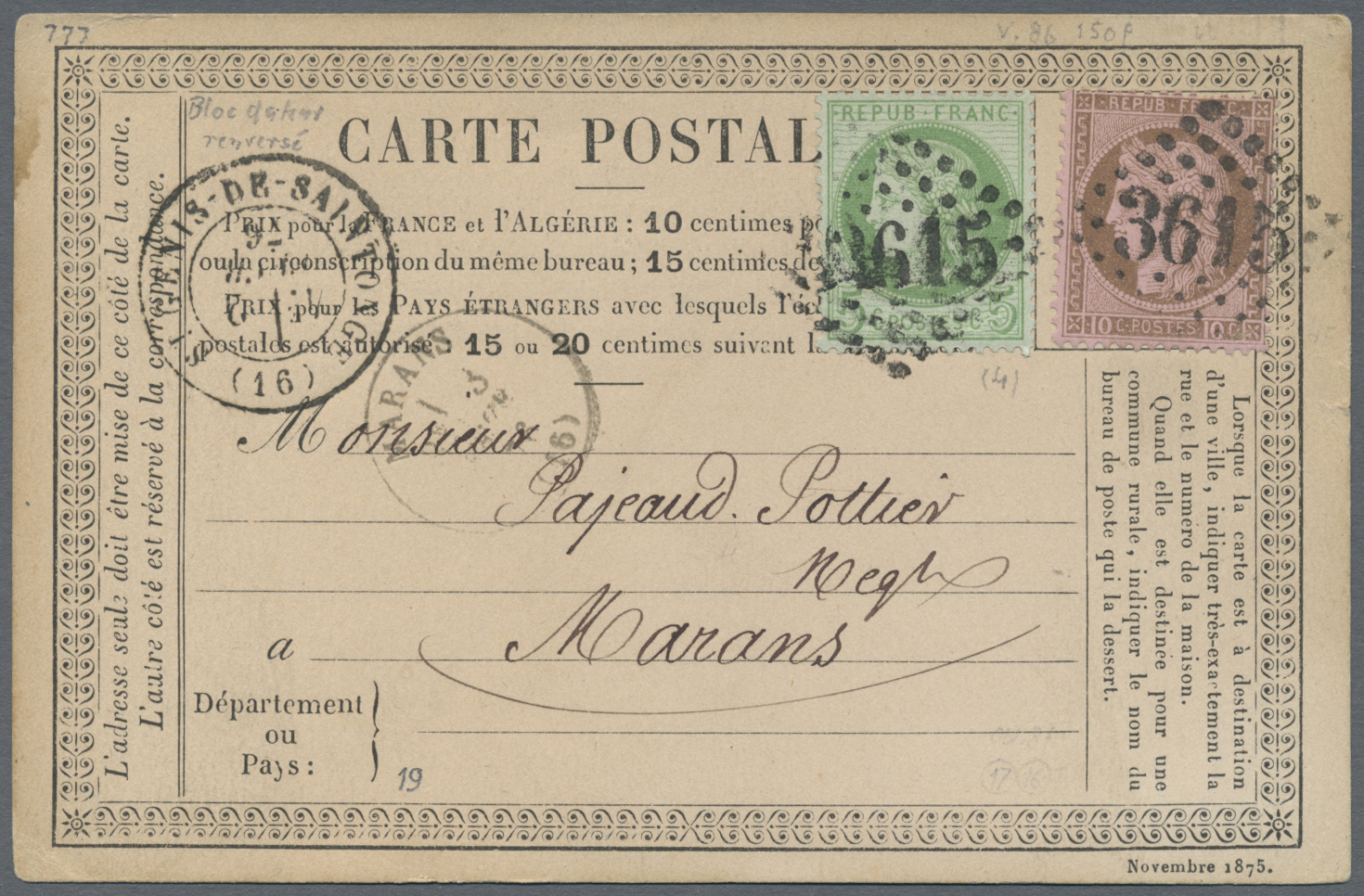 Stamp Auction - Frankreich - Sale #43 Asia, Collections intérieur Carte Numero Departement