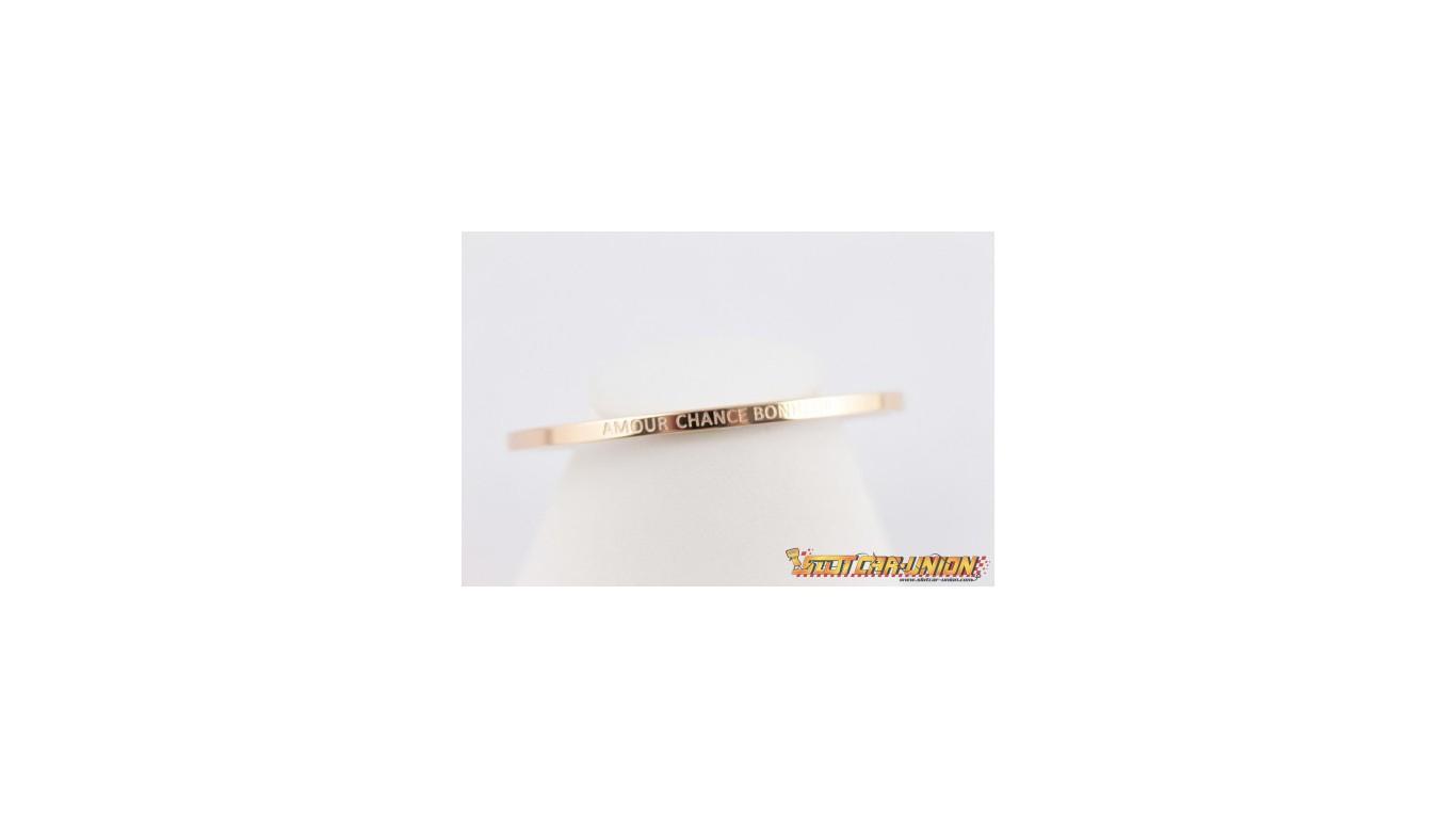 Steel Bracelet Message Amour Chance Bonheur Lolo & Yaya avec Bon The Bonheur