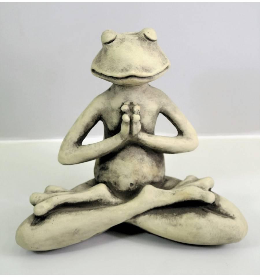 "Steinguss Yoga-Frosch ""der Lotus"" 22Cm Hoch pour La Grenouille Meditation"