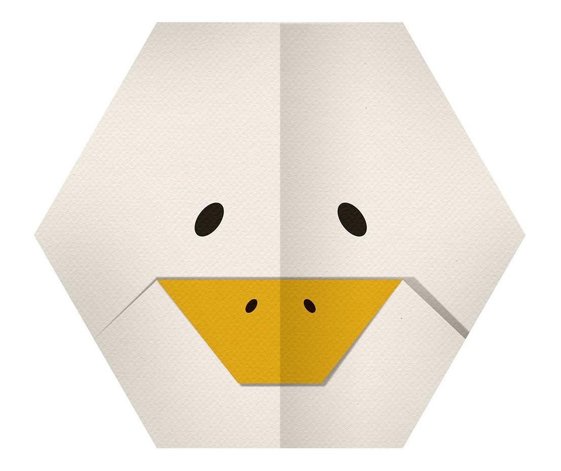 Sticker Animaux Origami Tête Oie Deco Chambre encequiconcerne Origami Canard
