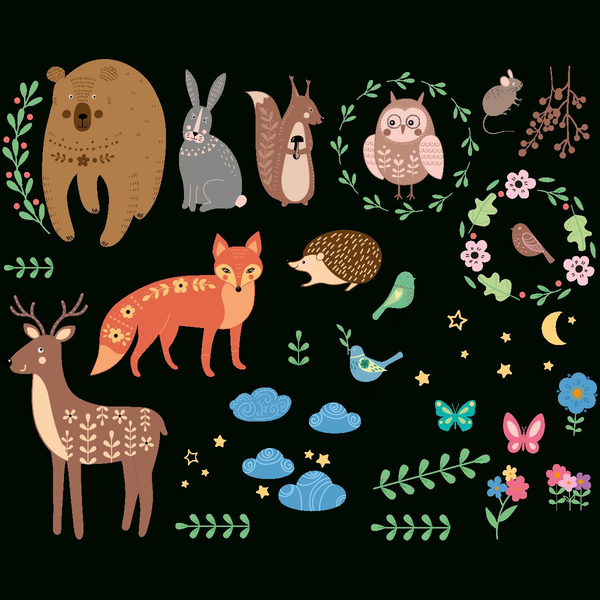Sticker Animaux Scandinaves De La Forêt intérieur Image D Animaux De La Foret