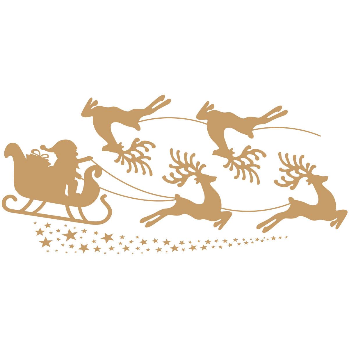 Sticker Noël Traineau Du Père Noël Et Les Rennes serapportantà Image De Traineau Du Pere Noel