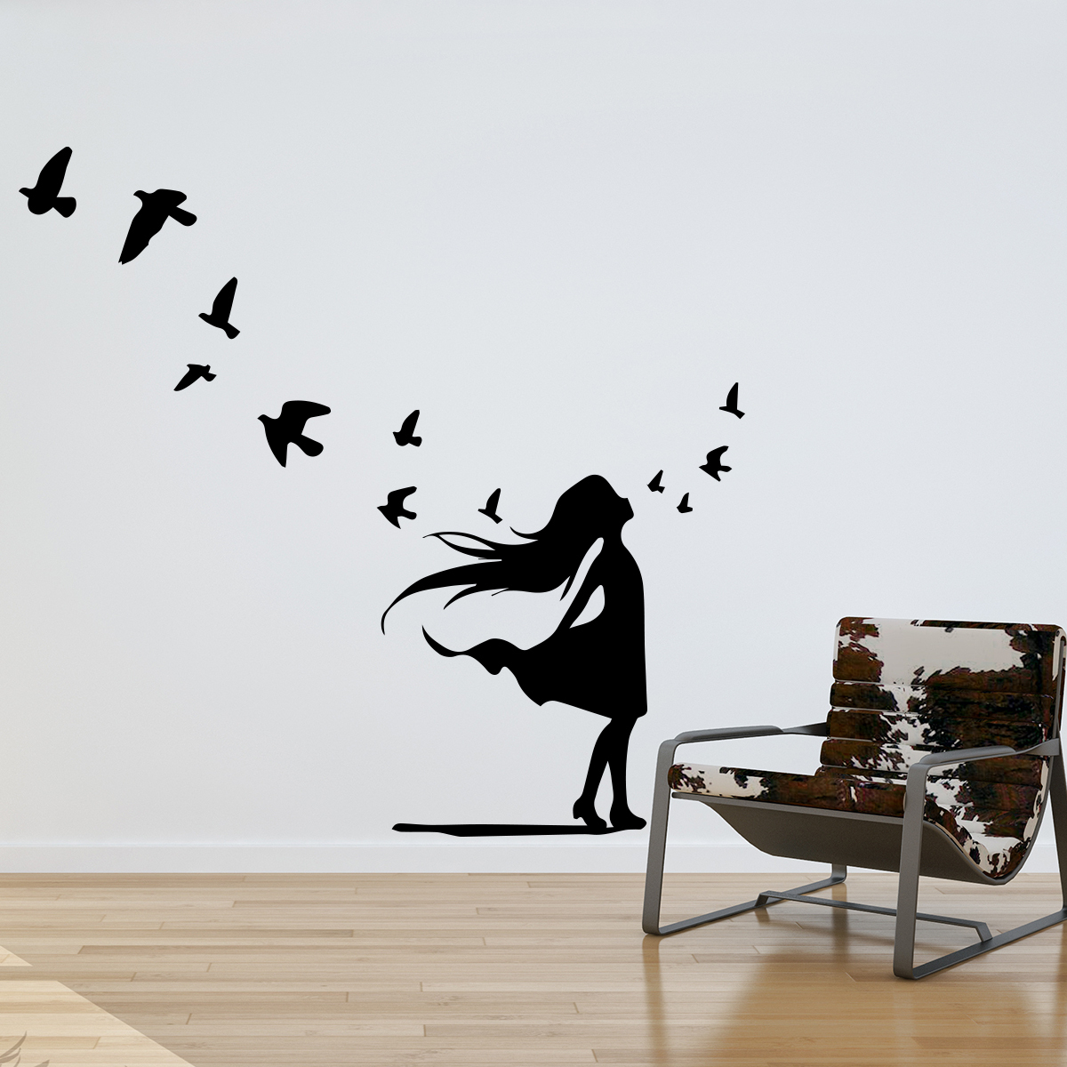 Sticker Petite Fille Et Vol D'oiseaux destiné Vol Petit Oiseau