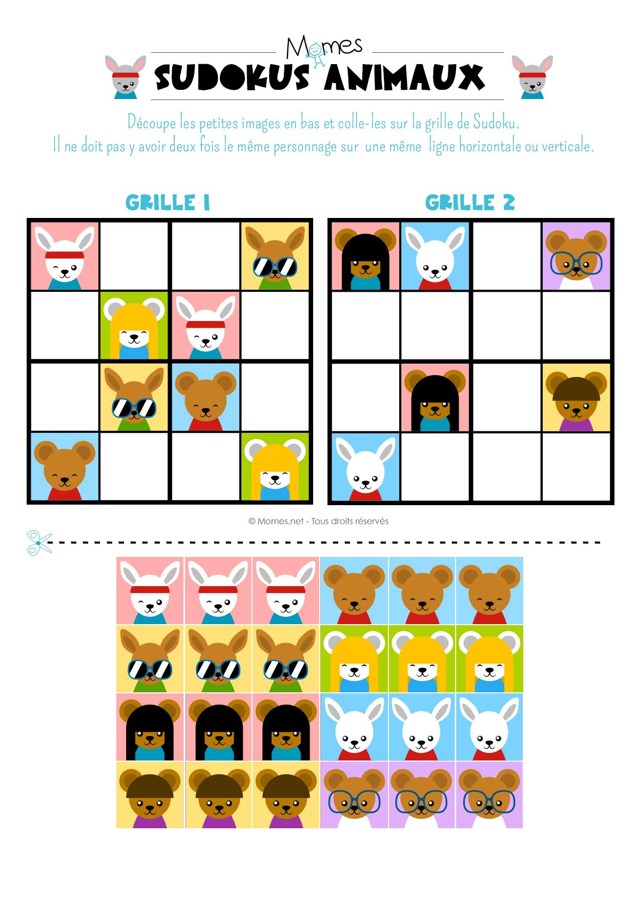 Sudoku Animaux - Momes à Jeux De Maternelle À Imprimer