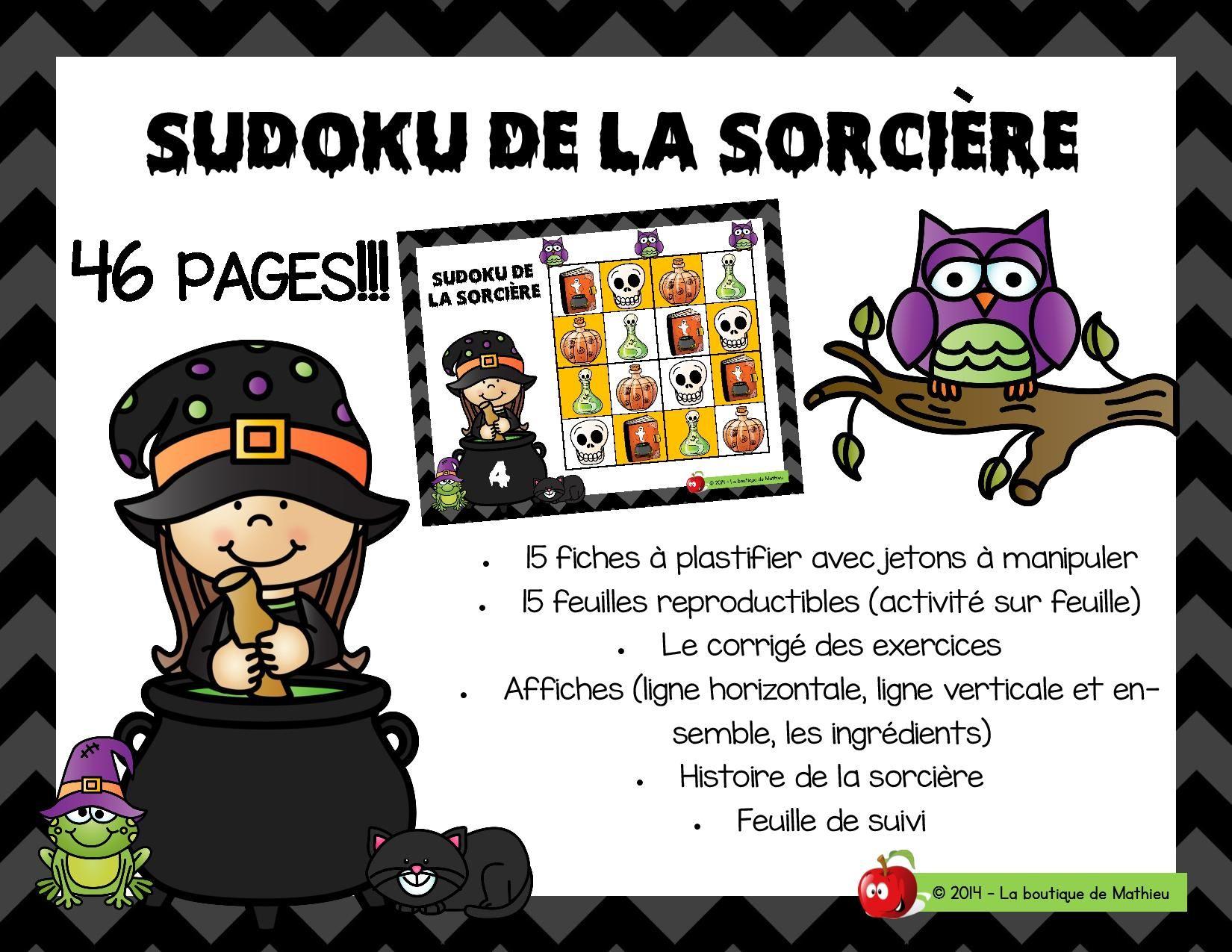 Sudoku De La Sorcière | Sorciere, Sorcières Maternelle, Sudoku dedans La Sorciere Tambouille